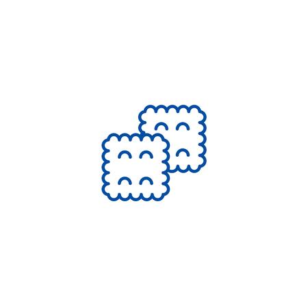 Biscuit line concept icon. Biscuit flat  vector website sign, outline symbol, illustration. Çizim
