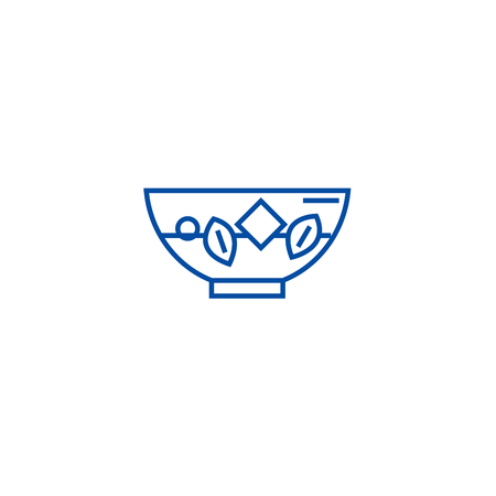 Blanching vegetables line concept icon. Blanching vegetables flat  vector website sign, outline symbol, illustration. Illustration