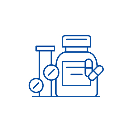 Biologically active additives line concept icon. Biologically active additives flat vector website sign, outline symbol, illustration.