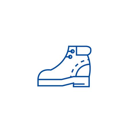 Boots sign line concept icon. Boots sign flat vector website sign, outline symbol, illustration.