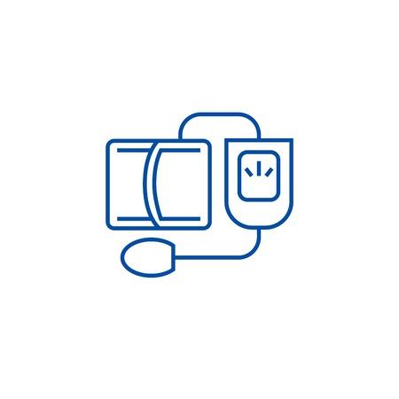 Blood pressure gauge,measuring line concept icon. Blood pressure gauge,measuring flat  vector website sign, outline symbol, illustration. Illusztráció