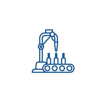 Ikona koncepcja linii butelkowania. Linia do butelkowania płaski wektor strony internetowej znak, symbol konspektu, ilustracja.