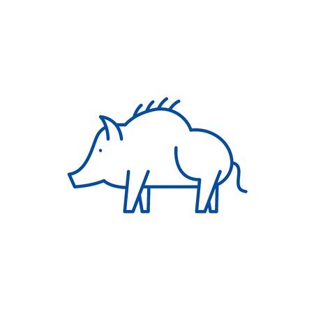Boar line concept icon. Boar flat  vector website sign, outline symbol, illustration. Stock Vector - 119710809