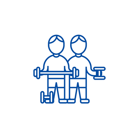 Bodybuilders,fintess  line concept icon. Bodybuilders,fintess  flat  vector website sign, outline symbol, illustration.