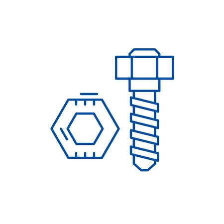 Bolt and nut line concept icon. Bolt and nut flat  vector website sign, outline symbol, illustration.