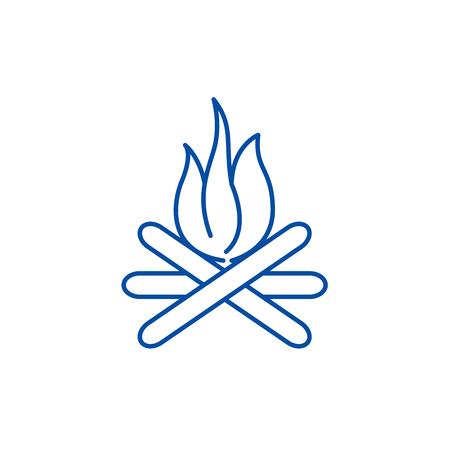 Bonfire line concept icon. Bonfire flat  vector website sign, outline symbol, illustration.