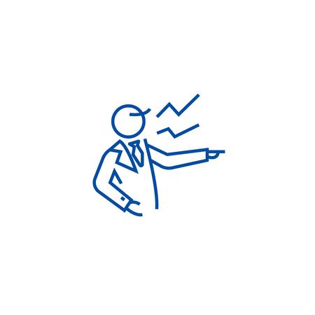 Boss scream line concept icon. Boss scream flat  vector website sign, outline symbol, illustration.