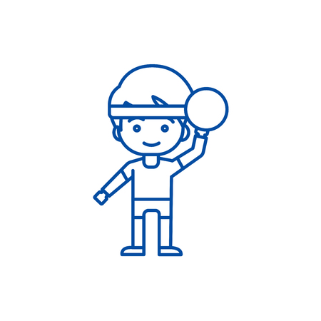 Boy playing  with ball line concept icon. Boy playing  with ball flat  vector website sign, outline symbol, illustration. Illustration