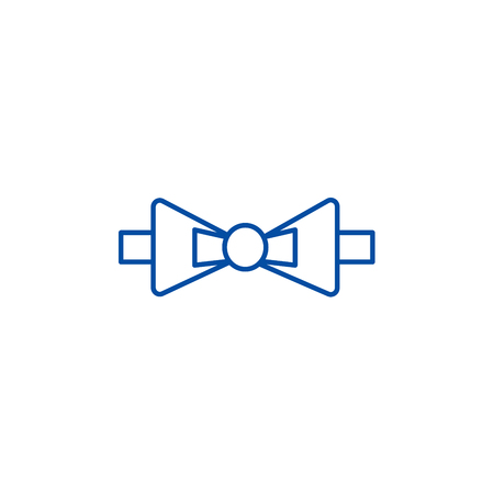 Bow tie line concept icon. Bow tie flat  vector website sign, outline symbol, illustration.