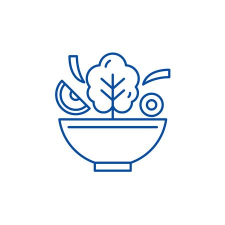 Bowl of salad line concept icon. Bowl of salad flat  vector website sign, outline symbol, illustration.