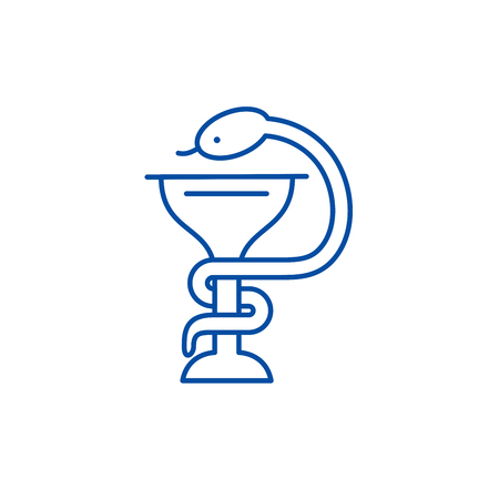 Bowl with a snake line concept icon. Bowl with a snake flat  vector website sign, outline symbol, illustration. Ilustrace