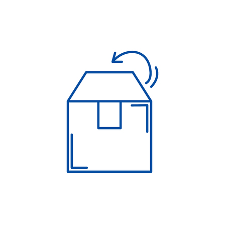 Box packing line concept icon. Box packing flat  vector website sign, outline symbol, illustration.