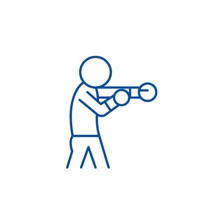 Boxer line concept icon. Boxer flat vector website sign, outline symbol, illustration.