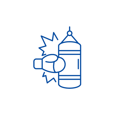 Boxing line concept icon. Boxing flat  vector website sign, outline symbol, illustration.