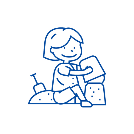 Boy playing with sand  line concept icon. Boy playing with sand  flat  vector website sign, outline symbol, illustration. Standard-Bild - 119711004