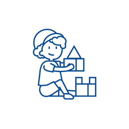 Boy playing with toys,box of bricks line concept icon. Boy playing with toys,box of bricks flat  vector website sign, outline symbol, illustration.