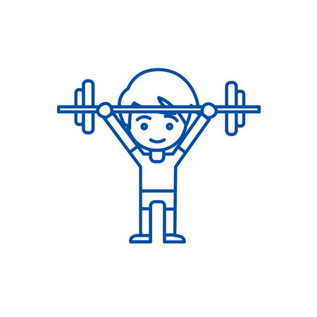Boy weights up line concept icon. Boy weights up flat  vector website sign, outline symbol, illustration. Illusztráció