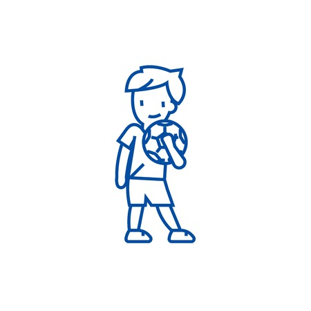 Boy with ball line concept icon. Boy with ball flat  vector website sign, outline symbol, illustration.