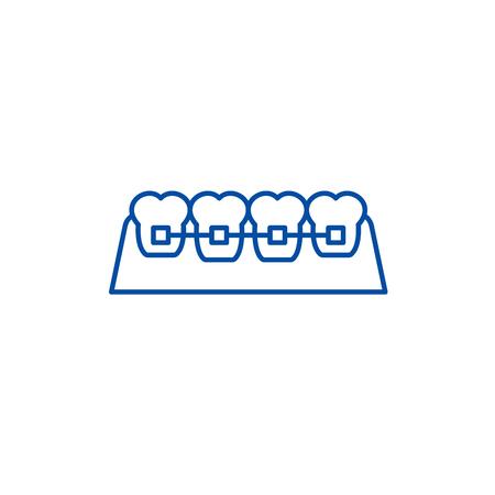 Braces line concept icon. Braces flat vector website sign, outline symbol, illustration.