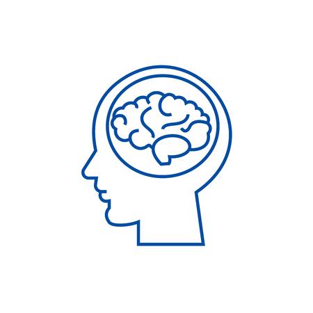 Mózg w głowie, burza mózgów, w ikonę koncepcja linii umysłu. Mózg w głowie, burza mózgów, na uwadze płaski wektor stronie znak, symbol konspektu, ilustracja.