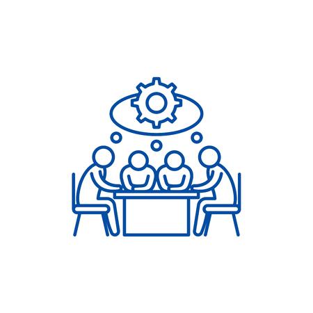 Ikona koncepcja linii burzy mózgów. Burza mózgów płaski wektor strony internetowej znak, symbol konspektu, ilustracja.