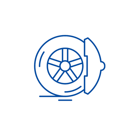 Brake pads line concept icon. Brake pads flat  vector website sign, outline symbol, illustration.