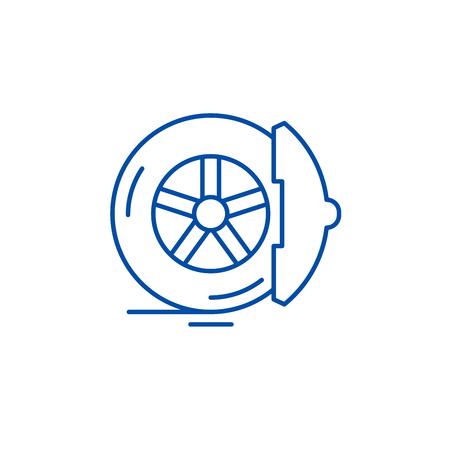 Brake pads line concept icon. Brake pads flat  vector website sign, outline symbol, illustration.