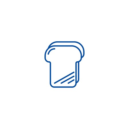 Bread toast line concept icon. Bread toast flat  vector website sign, outline symbol, illustration. Illustration