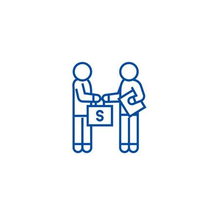 Bestechung und Korruption, Mann, der Geldlinie Konzeptsymbol gibt. Bestechung und Korruption, Mann, der Geld flaches Vektor-Website-Zeichen gibt, Umrisssymbol, Illustration.