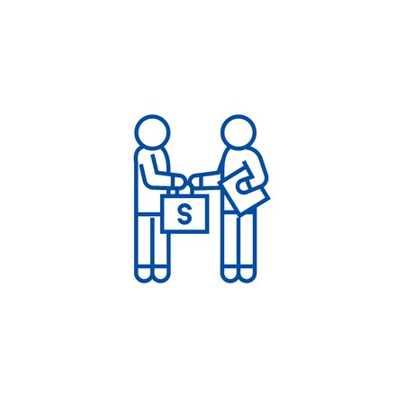 Bribery and corruption, man giving money line concept icon. Bribery and corruption, man giving money flat vector website sign, outline symbol, illustration.