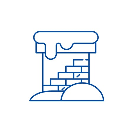 Brick chimney line concept icon. Brick chimney flat  vector website sign, outline symbol, illustration.