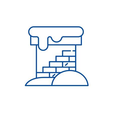 Brick chimney line concept icon. Brick chimney flat  vector website sign, outline symbol, illustration.