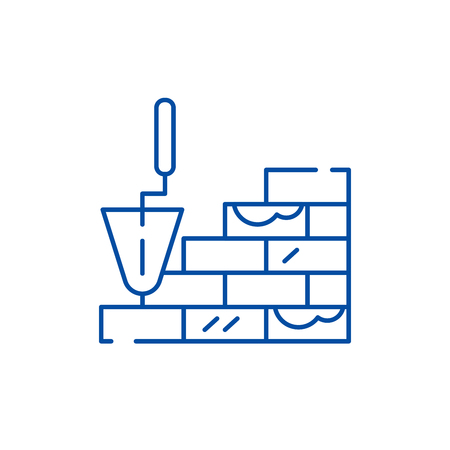 Brick laying line concept icon. Brick laying flat  vector website sign, outline symbol, illustration.
