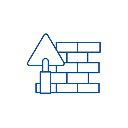 Brick wall,diy line concept icon. Brick wall,diy flat  vector website sign, outline symbol, illustration. Stock Illustratie