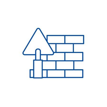 Brick wall,diy line concept icon. Brick wall,diy flat  vector website sign, outline symbol, illustration. Illustration
