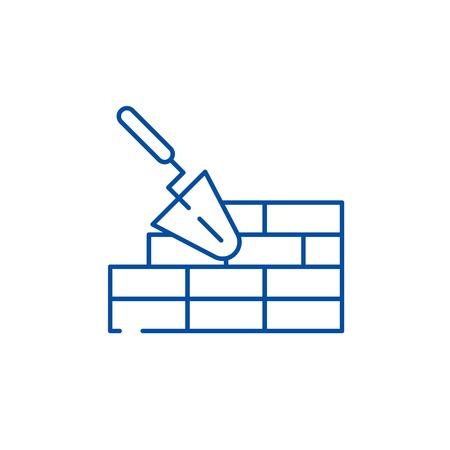 Brickwork line concept icon. Brickwork flat vector website sign, outline symbol, illustration.
