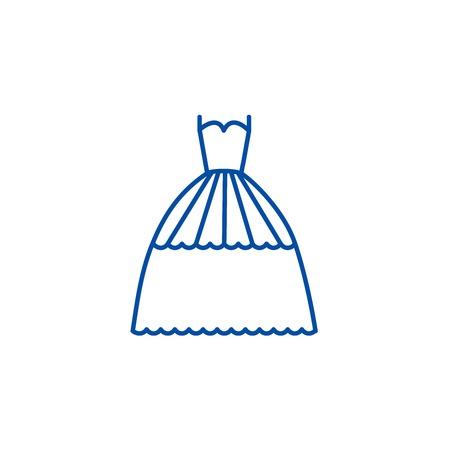 Bridal evening dress  line concept icon. Bridal evening dress  flat  vector website sign, outline symbol, illustration.