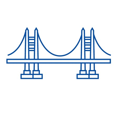 Bridge line concept icon. Bridge flat vector website sign, outline symbol, illustration.
