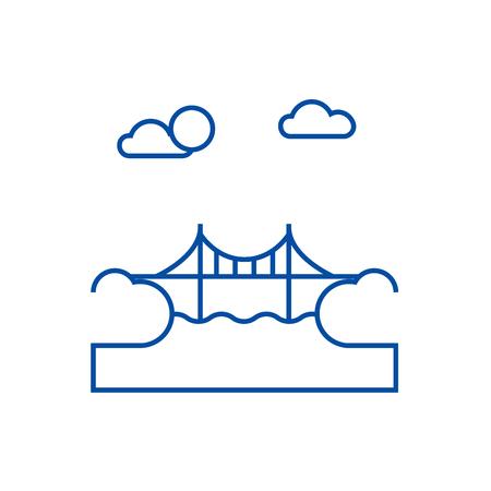 Bridge illustration line concept icon. Bridge illustration flat  vector website sign, outline symbol, illustration. Illustration
