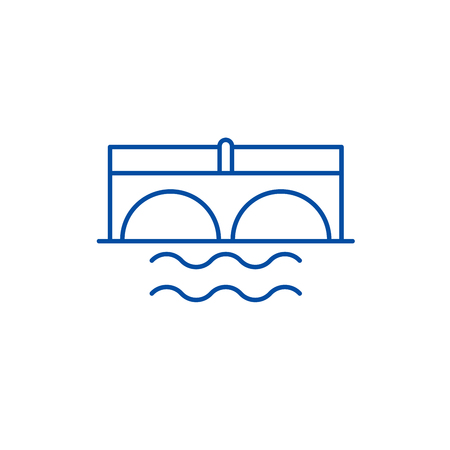 Bridge over river line concept icon. Bridge over river flat  vector website sign, outline symbol, illustration.