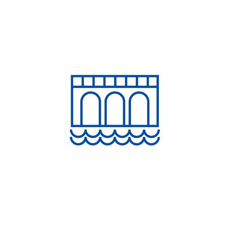 Bridge sign line concept icon. Bridge sign flat  vector website sign, outline symbol, illustration. Ilustrace