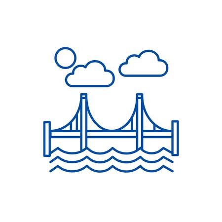 Bridge,san francisco line concept icon. Bridge,san francisco flat  vector website sign, outline symbol, illustration.  イラスト・ベクター素材