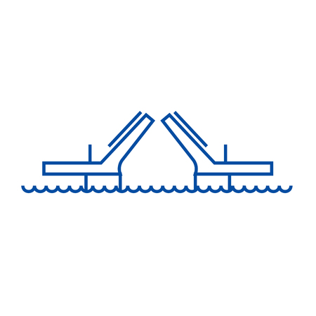 Bridges,drawbridges line concept icon. Bridges,drawbridges flat  vector website sign, outline symbol, illustration.