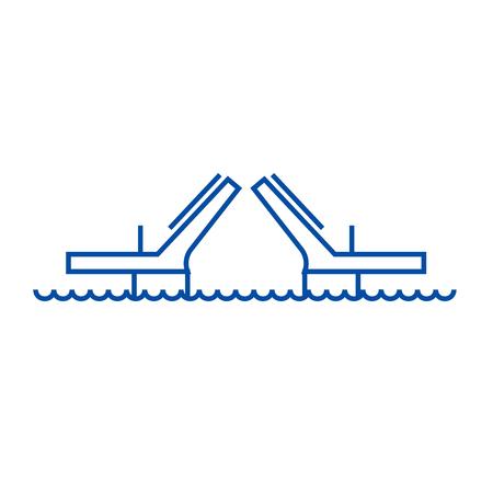 Bridges,drawbridges line concept icon. Bridges,drawbridges flat  vector website sign, outline symbol, illustration.