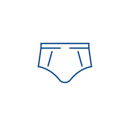 Brief underpants line concept icon. Brief underpants flat  vector website sign, outline symbol, illustration. Banque d'images - 119711157