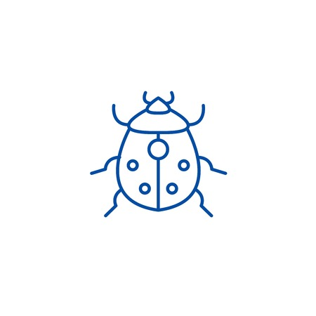 Bug line concept icon. Bug flat  vector website sign, outline symbol, illustration. Foto de archivo - 119711162