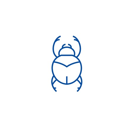 Bugs,egypt sign line concept icon. Bugs,egypt sign flat  vector website sign, outline symbol, illustration.