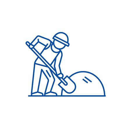 Baumeister, der mit dem Symbol für das Konzept der Schaufellinie arbeitet. Baumeister, der mit flachem Vektor-Websitezeichen der Schaufel, Umrisssymbol, Illustration arbeitet.