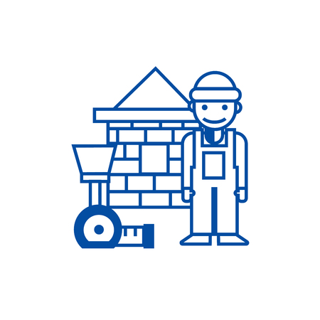 Builder,brick house,meter line concept icon. Builder,brick house,meter flat  vector website sign, outline symbol, illustration.