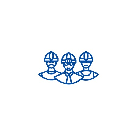 Builders team line concept icon. Builders team flat vector website sign, outline symbol, illustration.